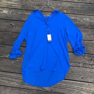Adrianna Papell blue button down top